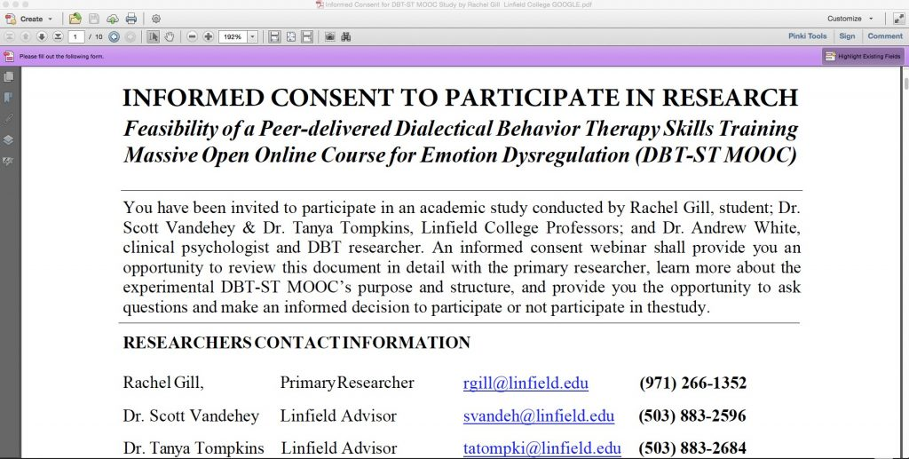 Informed Consent to Participate in DBT Research by Rachel Gill