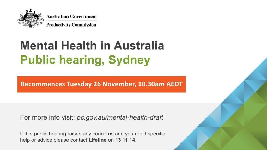 Mental Health in Australia public hearing (Sydney, Tuesday 26 November 2019)